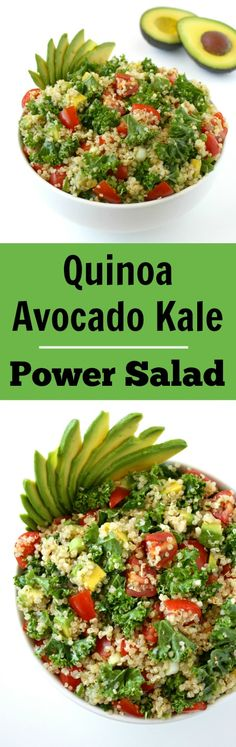 LOVE this 9-ingredient Quinoa Avocado Kale Power Salad! An energizing and nutrient-packed combo - quinoa and avocado are magical together! (vegan, gluten-free)