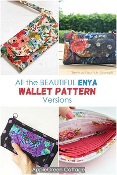 Diy Wallet you'll love - all the pattern options of the best Enya wallet pattern. Easy Sewing Projects, Sewing Projects For Beginners, Sewing Hacks, Sewing Tutorials, Bag Tutorials, Sewing Tips, Purse Patterns, Sewing Patterns Free, Free Sewing