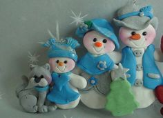 *POLYMER CLAY ~ Milestone Christmas Ornament Snow Family Tree Snowman Girl Cat Cake Topper.