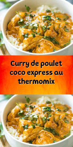 Curry de poulet coco express au thermomix Coconut express chicken curry with thermomix a dinner dish having a great success for the whole family it is one of my favorite dishes here is the recipe. Crockpot Chicken Alfredo, Recipe Chicken, Coco Curry, Breakfast Pictures, Coconut Curry Chicken, Nutrition Activities, Thermomix Desserts, Slow Cooker Recipes, Love Food