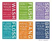 Bathroom art prints. Bathroom Rules. Kids bathroom wall quotes. Wash Brush Floss Flush. Typography. Set of 2 8x10 prints by WallFry. $30.00, via Etsy.