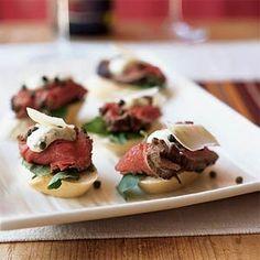 Fancy Appetizer Sandwiches | Seared Beef Tenderloin Mini Sandwiches with Mustard-Horseradish Sauce ...