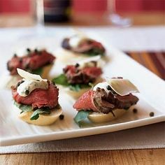 Seared Beef Tenderloin Mini Sandwiches with Mustard-Horseradish Sauce | MyRecipes.com