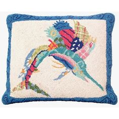 THE WELL APPOINTED HOUSE - Patchwork Sailfish Hooked Pillow - Pillows - Decorative