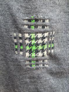 Tweed inspired darn on merino wool sweater - make repairs into a design feature!