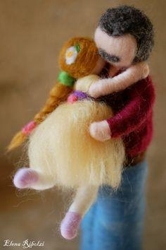 Papà & bimba, in lana fiaba, ispirazione Waldorf