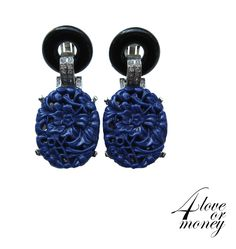 Gorgeous Kenneth Lane faux carved blue lapis earrings available for sale from our 4loveormoney store http://www.rubylane.com/item/1337712-KJL-003/Gorgeous-Kenneth-Lane-faux78-carved-blue