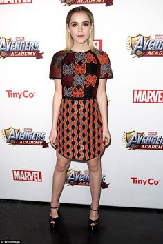 Stylish: Kiernan Shipka wore a pretty patterned dress as she attended the Marvel Avengers ...