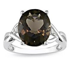 @Overstock - Smokey quartz and diamond fashion ringSterling silver jewelryClick here for ring sizing guidehttp://www.overstock.com/Jewelry-Watches/Miadora-Sterling-Silver-Smokey-Quartz-and-Diamond-Fashion-Ring/5301088/product.html?CID=214117 $44.99