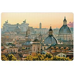 City Pet Mats for Food and Water by Ambesonne, View of Rome from Castel Sant'Angelo Italy Historical Landmark Vatican, Rectangle Non-Slip Rubber Mat for Dogs and Cats, Pale Salmon Ivory Green *** Continue to the product at the image link. (This is an affiliate link) #DogFeedingWateringSupplies