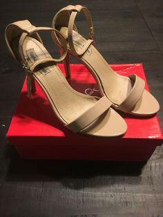 ddcfb09a5ce8 Fashion Focus Beige Ankle Strap Party Open Toe Heel Shoes Size 8  fashion   clothing