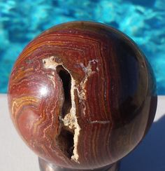 """Onyx Sphere From Pakistan w/ Vug 9 3/4"""" Cirm Item# SP-MFR019 #holidaygift #unique #onyx #agate"""