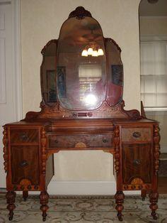 vintage vanity dresser with mirror. SUMMER SALE  Ornate Victorian Vanity Dresser with Mirror Original Finish Pick up only 1920s bedroom furniture Google Search nouveau Vintage