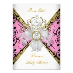 Baby Shower Girl Pink Princess Damask Black Custom Invites