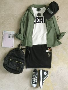 White graphic tee with black stretch pencil skirt and olive utility jacket. Wear with chucks or leather sandals. Daily Fashion, Love Fashion, Girl Fashion, Womens Fashion, Japanese Fashion, Korean Fashion, Hijab Fashion, Fashion Outfits, Fashion Trends