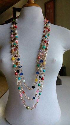 Collar largo co Diy Necklace, Necklace Designs, Beaded Jewelry, Jewelry Necklaces, Urban Jewelry, Jewelry Accessories, Jewelry Design, Homemade Jewelry, Girls Necklaces