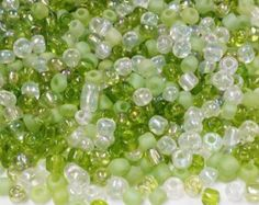 Green Seed Beads Supplies, Green and White Seed Bead Mix, 6/0 Seed Bead Mix, Bead Weaving, 110 Grams of  Bead, Beads for Jewelry Making S66 by vickysjewelrysupply. Explore more products on http://vickysjewelrysupply.etsy.com