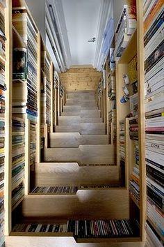 stairs, bookshelves, drawers