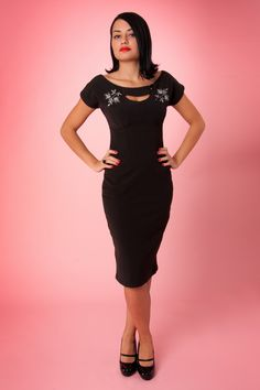 Bettie Page Clothing - 50s Sierra black keyhole pencil dress