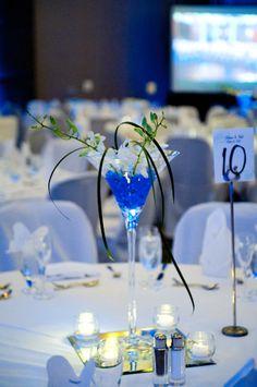 blue tall glass centerpiece
