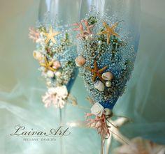 Beach Wedding Champagne Flutes Wedding Champagne Glasses