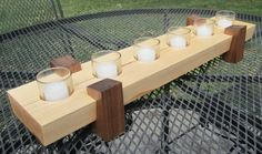 Items similar to Modern Centerpiece - Maple base with Walnut legs on Etsy Modern Centerpieces, Wood Gifts, Charity, Palm, Household, Candles, Legs, Projects, Handmade