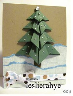 Another take on the origami tree card. Not as ostentatious, but just as attractive nevertheless.