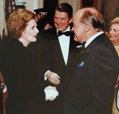 Margaret Thatcher with Ronald Reagan & Bob Hope. Mrs. Thatcher died today aged 87.