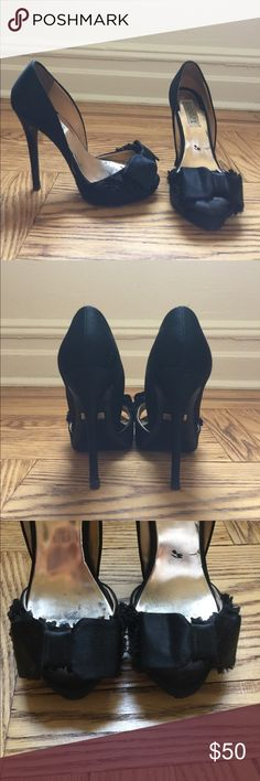 Badgley Mischka Black Satin Bow Heels Black satin peep toe heel. Bow detail. Black sole protectant. Inner sole has a few scuffs but the overall shoe is in great condition.  5 inch heel, 3/4 inch platform. Badgley Mischka Shoes Heels
