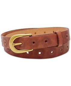 Fossil Floral Perforated Embossed Leather Belt - Brown