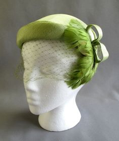 "Vintage 1950s Half Hat Large 23"" Green Linen with Feather Trim and Fascinator #HalfHat"