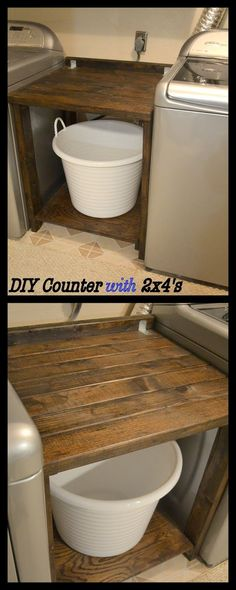 Laundry Room Makeover Part 5 - MORE Counter Space - Built a countertop between your washer and dryer with 2x4's