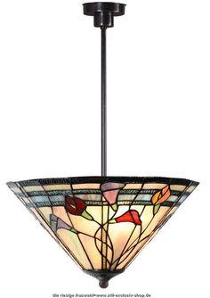 Moderne Designer TIFFANY-Pendel-Lampe CALLA FLEURS.  Design= GJV-Glas-Studio.  2xE-27, je 60W. ø 40cm.  ...eine zeitlos-elegant TIFFANY-Hänge-Lampe mit leuchtenden Blüten-Motiven in exellenter Verarbeitung.  Die eleganten Stiele der Blume ragen optisch aus dem Muster hervor.  Mit roten, purpur/lila und orangefarbigen Blüten.  Mit der hier gezeigten bronze-farbigen Armatur Gesamthöhe ca.75cm.