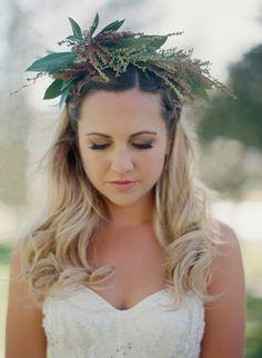 greenery crown, photo by Bret Cole http://ruffledblog.com/lake-tahoe-wedding-inspiration #weddingideas #floralcrown