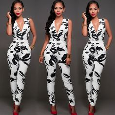 Details about Summer Women Ladies Clubwear Playsuit Bodycon Party Jumpsuit Romper Trousers New Sommer Frauen Damen Clubwear Spielanzug Bodycon Party Jumpsuit Romper Hosen Bodycon Jumpsuit, White Jumpsuit, Printed Jumpsuit, Long Romper, Romper Pants, Club Outfits For Women, Clothes For Women, Leotard Tops, Chic Couture Online