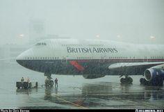 British Airways Boeing 747-436 G-BNLE pushing back during a snowstorm at Denver-International, April 2000. (Photo: Chris Barrow)
