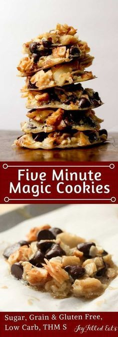 Five Minute Magic Cookies - Low Carb, Keto, Grain Gluten Sugar Free, THM S - These Five Minute Magic Cookies take all the flavors of my popular Magic Cookie Bars and turn them into a cookie that mixes up in only 5 minutes. With chocolate chips, coconut flakes, and walnuts these are my new favorite easy recipe.