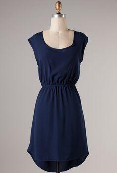 Summer Lakehouse Short Sleeve Skater Dress with Criss-Cross Back Detail in Navy Blue