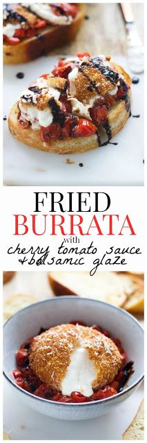 Burrata with Fresh Figs and Crispy Bread: a midday snack or appetizer recipe to get excited about! Fresh and creamy burrata is topped wi. Tomate Mozzarella, Burrata Recipe, Burrata Cheese, Cherry Tomato Sauce, Cherry Tomatoes, Fingers Food, Appetizer Recipes, Appetizers, Snacks