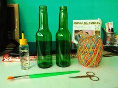 Meu Mini Apê: Faça você mesmo: garrafas decoradas com linha