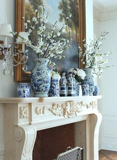 Will An All Blue and White Home Look Weird? - laurel home | gorgeous fireplace mantel with blue and white chinoiserie porcelains via the Enchanted Home