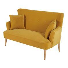 Small, stylish sofas for small spaces   Mustard yellow 2-seater velvet sofa Leon   Maisons du Monde