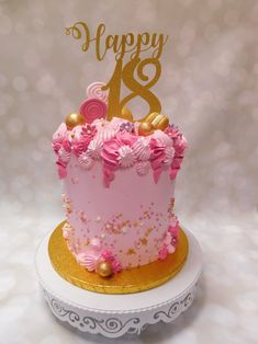 Drip Cakes, Pink And Gold, Birthday Cake, Desserts, Food, Tailgate Desserts, Birthday Cakes, Deserts, Eten