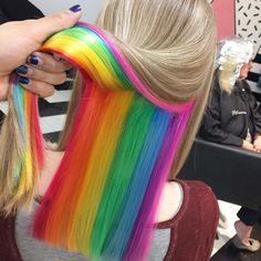 Hair color pastel peek a boo 44 Ideas for 2019 Hai Pretty Hair Color, Hair Color Blue, Purple Hair, Diy Hair Dye, Dyed Hair, Hidden Rainbow Hair, Color Fantasia, Multicolored Hair, Colorful Hair