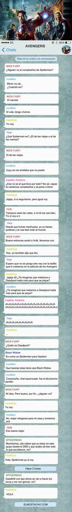 Una conversación del grupo de #Whatsapp de los #Avengers.