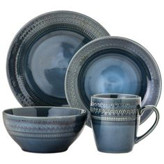 Threshold™ 16 Piece Dinnerware Kingsland Blue from Target -  Gorgeous Indigo blue is trending! Get this beautiful set for just $60.