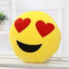 Soft Emoji Smiley Emoticon Heart Eyes Yellow Round Cushion Pillow Stuffed Plush Toy Doll Christmas Present Christmas Present Pictures, Smiley Emoticon, Smiley Faces, Cushions On Sofa, Throw Pillows, Teddy Day, Best Duvet Covers, Pillowcase Pattern, Cute Emoji