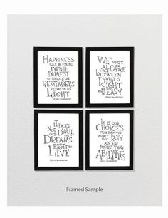 Albus Dumbledore quote print set - Harry Potter movie poster, typography poster, black and white art on Etsy, $42.00