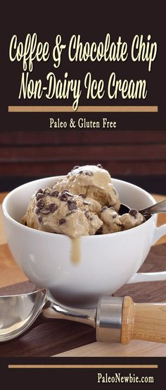 Rich coffee-infused paleo treat with an extra chocolaty crunch. Make it in minutes with instant coffee! Dairy-free deliciousness - perfect for summer! Non Dairy Ice Cream, Paleo Ice Cream, Ice Cream Recipes, Paleo Sweets, Paleo Dessert, Healthy Desserts, Dessert Recipes, Dairy Free Recipes, Whole Food Recipes