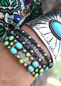 Junk Gypsy western style cuffs | I want the green and blue cuffs!!